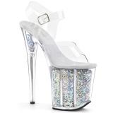 Silver 20 cm FLAMINGO-808GF glitter platform high heels shoes