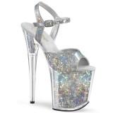 Silver 20 cm FLAMINGO-809HS Hologram platform high heels shoes