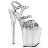 Silver 20 cm FLAMINGO-874 glitter platform sandals shoes