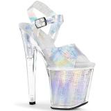 Silver 20 cm XTREME-808N-CRHM Hologram platform high heels shoes