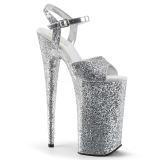Silver 25,5 cm BEYOND-010LG glitter platform high heels shoes