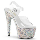 Silver Crystal Stone 18 cm BEJEWELED-708MS Platform High Heels Shoes