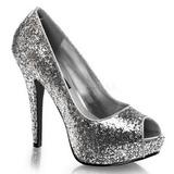 Silver Glitter 13,5 cm TWINKLE-18G Platform Pumps Peep Toe