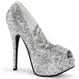 Silver Glitter 14,5 cm Burlesque BORDELLO TEEZE-22G Platform Pumps