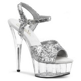 Silver Glitter 15 cm Pleaser DELIGHT-609 High Heel Platform