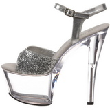 Silver Glitter 18 cm SKY-310 Platform High Heeled Sandal Shoes