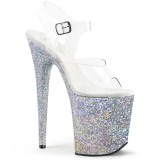 Silver Glitter 20 cm FLAMINGO-808LG Platform High Heeled Sandal Shoes