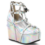 Silver Leatherette 13 cm POISON-25-2 lolita ankle boots wedge platform