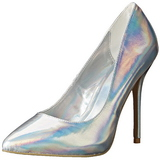 Silver Matte 13 cm AMUSE-20 pointed toe stiletto pumps