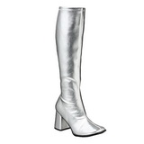 Silver Pu 8,5 cm Funtasma GOGO-300 Women Knee Boots