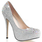 Silver Rhinestone 13 cm DESTINY-06R Platform Pumps Women Shoes