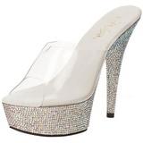 Silver Rhinestone 15,5 cm BEJEWELED-601DM Platform Mules Shoes