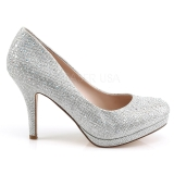 Silver Rhinestone 9 cm COVET-02 High Heeled Evening Pumps Shoes
