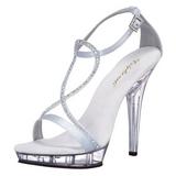 Silver Satin 13 cm LIP-156 Womens High Heel Sandals