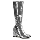 Silver Sequins 8 cm SPECTACUL-300SQ Womens Boots for Men