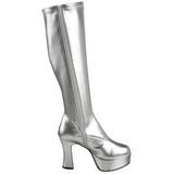 Silver Shiny 11 cm Funtasma EXOTICA-2000 Platform Knee Boots