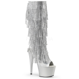 Silver Strass 18 cm ADORE-2024RSF womens fringe boots high heels