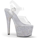 Silver glitter 18 cm Pleaser ADORE-708HMG Pole dancing high heels shoes