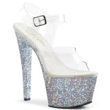 Silver glitter 18 cm Pleaser SKY-308LG Pole dancing high heels shoes