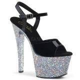 Silver glitter 18 cm Pleaser SKY-309LG Pole dancing high heels shoes