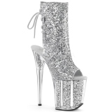 Silver glitter 20 cm Pleaser FLAMINGO-1018G Pole dancing ankle boots
