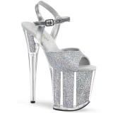 Silver glitter 20 cm Pleaser FLAMINGO-810G Pole dancing high heels shoes