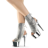 Silver rhinestones 18 cm ADORE-1018DCS platform womens ankle boots