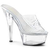 Strass steentjes 15 cm Pleaser KISS-201SD dames slippers met hak