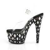 Strass steentjes 18 cm Pleaser ADORE-708DIA paaldans schoenen met hoge hakken