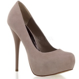Suede Beige 13,5 cm GORGEOUS-20 Stiletto Pumps Plateau