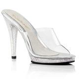 Transparant 11,5 cm Fabulicious FLAIR-401MG glitter slippers met hakken