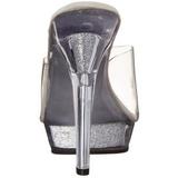 Transparant 13 cm Fabulicious LIP-101 Glitter Plateau Mules Hoge Hakken