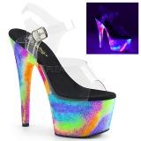Transparant 18 cm ADORE-708GXY Neon plateau schoenen dames met hak