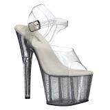 Transparant 18 cm ADORE-708MG glitter plateau schoenen dames met hak