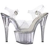 Transparant 18 cm ADORE-708MMG glitter plateau schoenen dames met hak