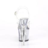 Transparant 18 cm FLASH-708SCHSQ pole dance sandalen met LED verlichting plateau