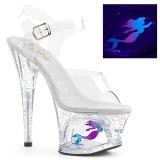 Transparant 18 cm MOON-708MER Neon hoge hakken schoenen pleaser