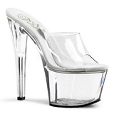 Transparant 18 cm TREASURE-701 stripper mules paaldans schoenen