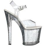 Transparant 19 cm TABOO-708MG glitter plateau schoenen dames met hak