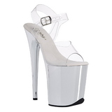 Transparant 20 cm FLAMINGO-808 High Heels Chroom Plateau