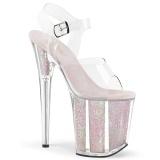 Transparant 20 cm FLAMINGO-808G glitter plateau schoenen dames met hak