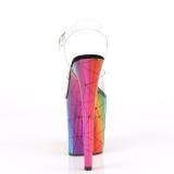 Transparant 20 cm FLAMINGO-808WR Hologram plateau schoenen dames met hak