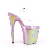 Transparant 20 cm FLAMINGO-808WR2 Hologram plateau schoenen dames met hak