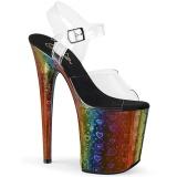 Transparant 20 cm FLAMINGO-808WR3 Hologram plateau schoenen dames met hak