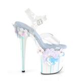 Transparant 20 cm Pleaser FLAMINGO-808SQFL paaldans schoenen met hoge hakken