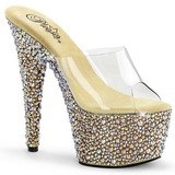 Transparant Goud 18 cm BEJEWELED-701MS Strass Plateau Mules