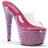 Transparant Rosa 18 cm BEJEWELED-701MS Strass Plateau Mules