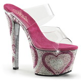 Transparant Rosa 18 cm BEJEWELED-702HT Strass Plateau Mules