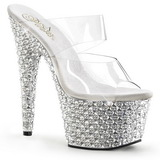 Transparant Zilver 18 cm BEJEWELED-702PS Strass Plateau Mules