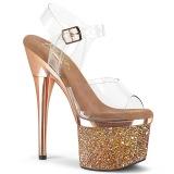 Transparante hakken 18 cm ESTEEM-708CHLG plateau pole dance sandalen gold